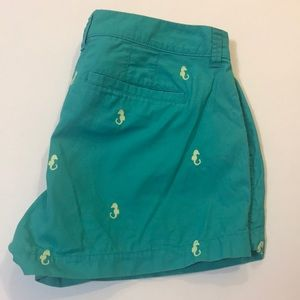 Old Navy Green Cotton Shorts With Seahorses